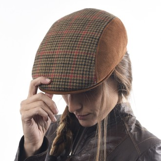 Swiss style wool and suede cap