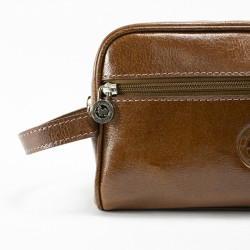 Soft leather rectangular toiletry bag