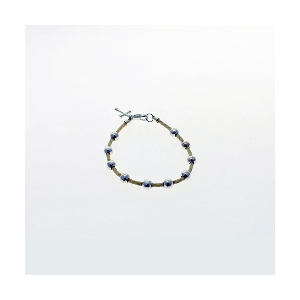 Leather bracelet with prayer beads and cross |El Boyero