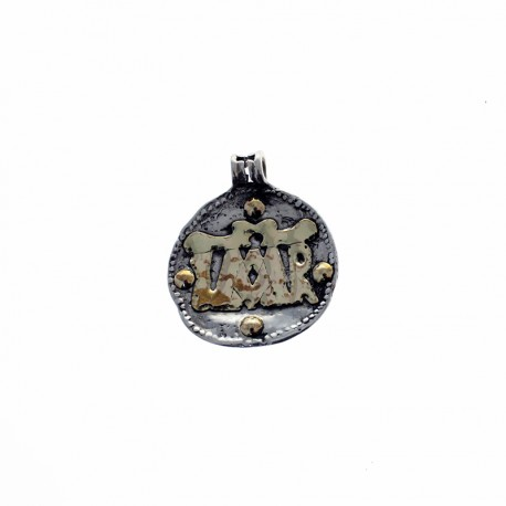 Sterling silver and gold Virgin Mary big size pendant
