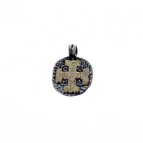 Sterling silver and gold Saint Benito medal