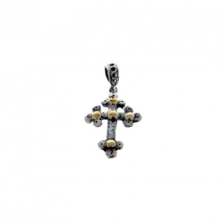 Sterling silver and gold cross pendant