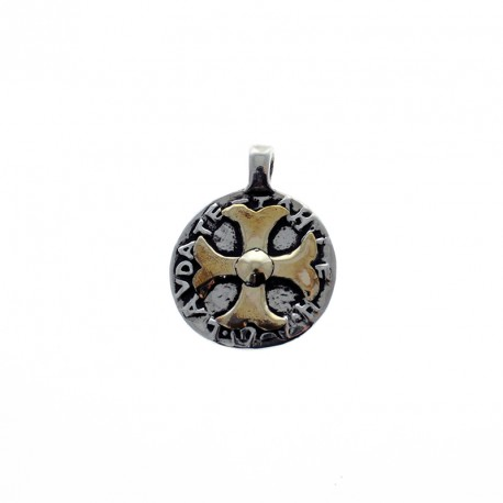 Sterling silver and gold religious medal
