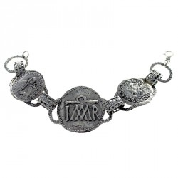 Sterling silver bracelet with ancient religious symbols
