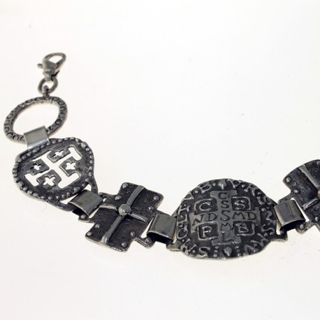Sterling silver bracelet with religious medals