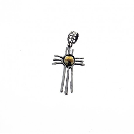 Sterling silver and gold Navajo indian style cross pendant