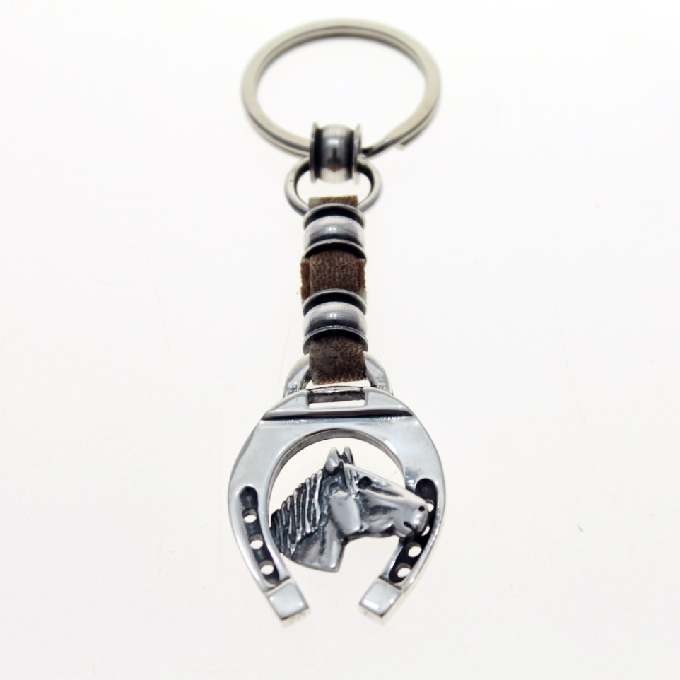 Horse raw leather keychain