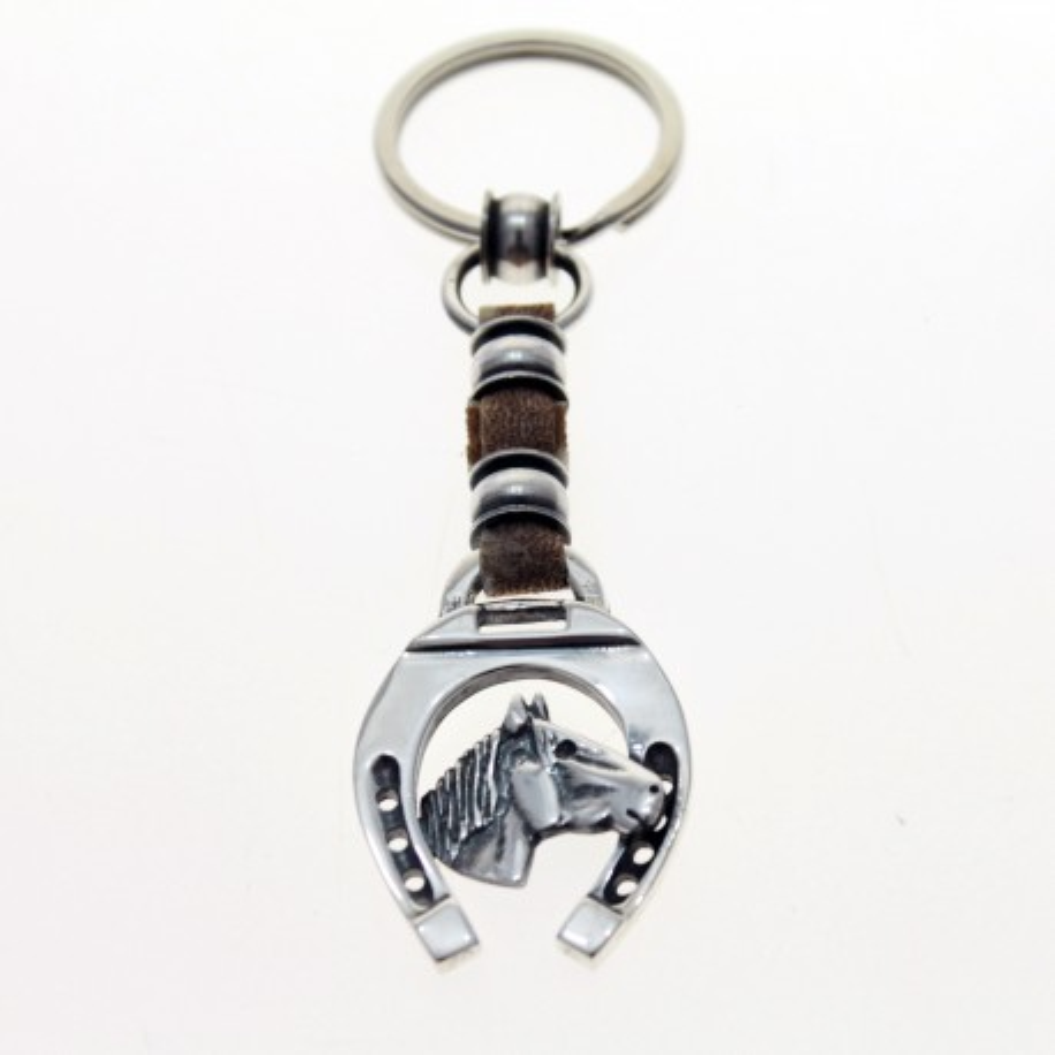 Horse raw leather keychain