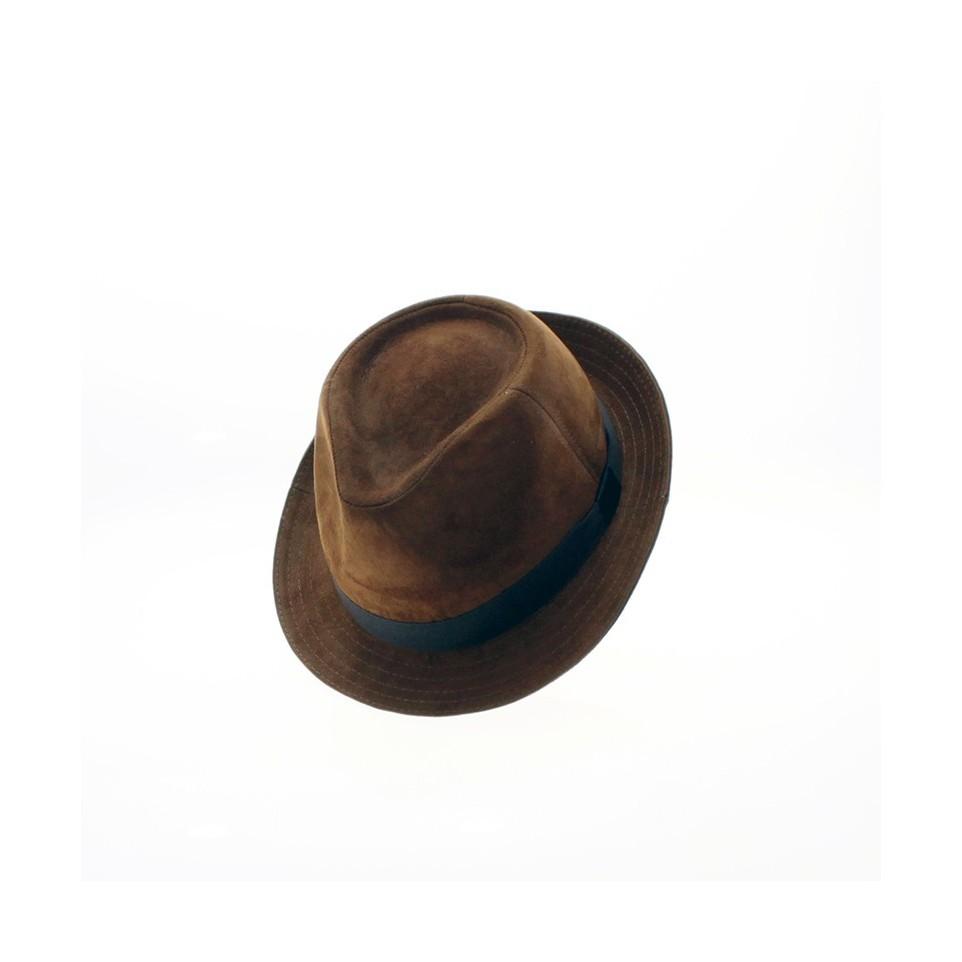 Suede short brim hat