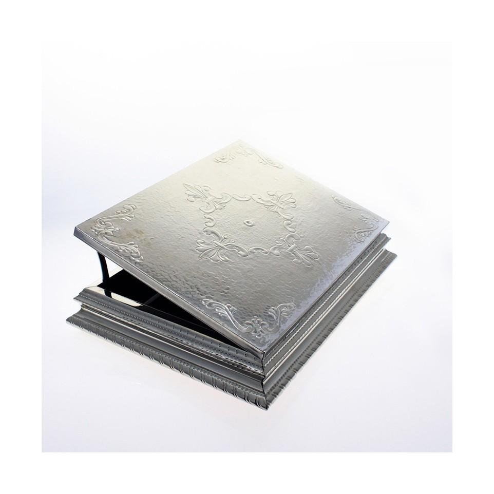 Hand chiselled nickel silver tea box x12 |El Boyero