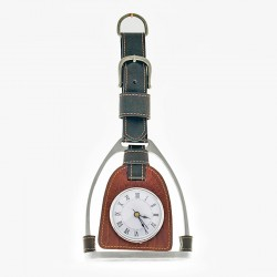Stirrup shaped hanging clock
