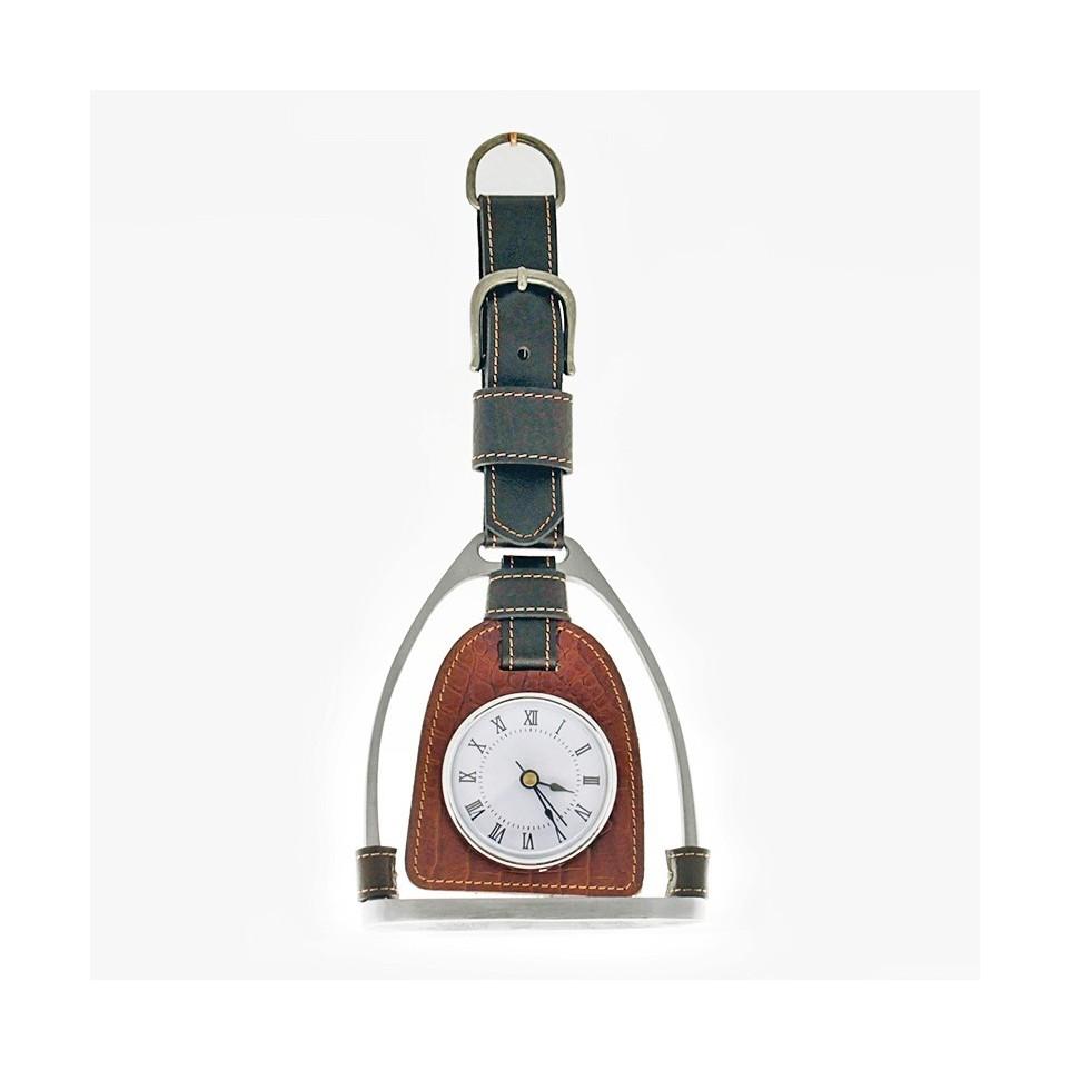 Stirrup shaped hanging clock