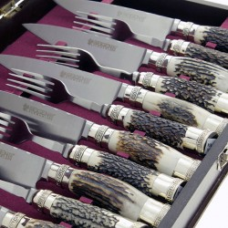 Deer horn handle knife and fork 12 pieces set |El Boyero