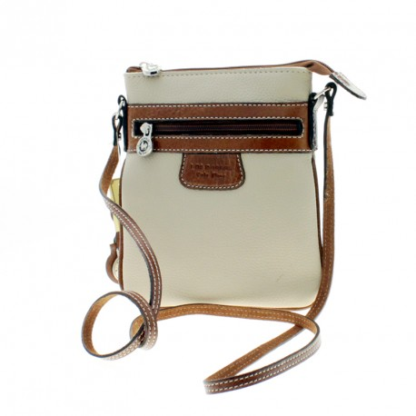 Small flat cow leather crossbody purse