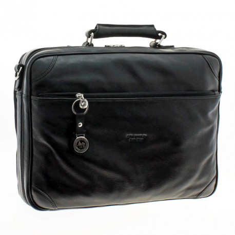 Cow leather doubled-compartment laptop briefcase