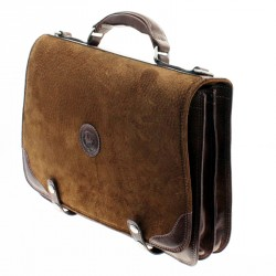 Capybara leather briefcase with clasps closure |El Boyero