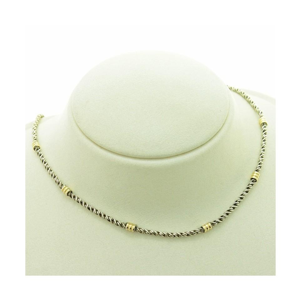 Gargantilla torzada de plata con detalles en Oro |El Boyero
