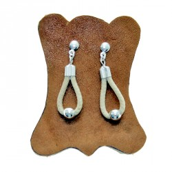 Sterling silver and raw leather drop shaped earrings
