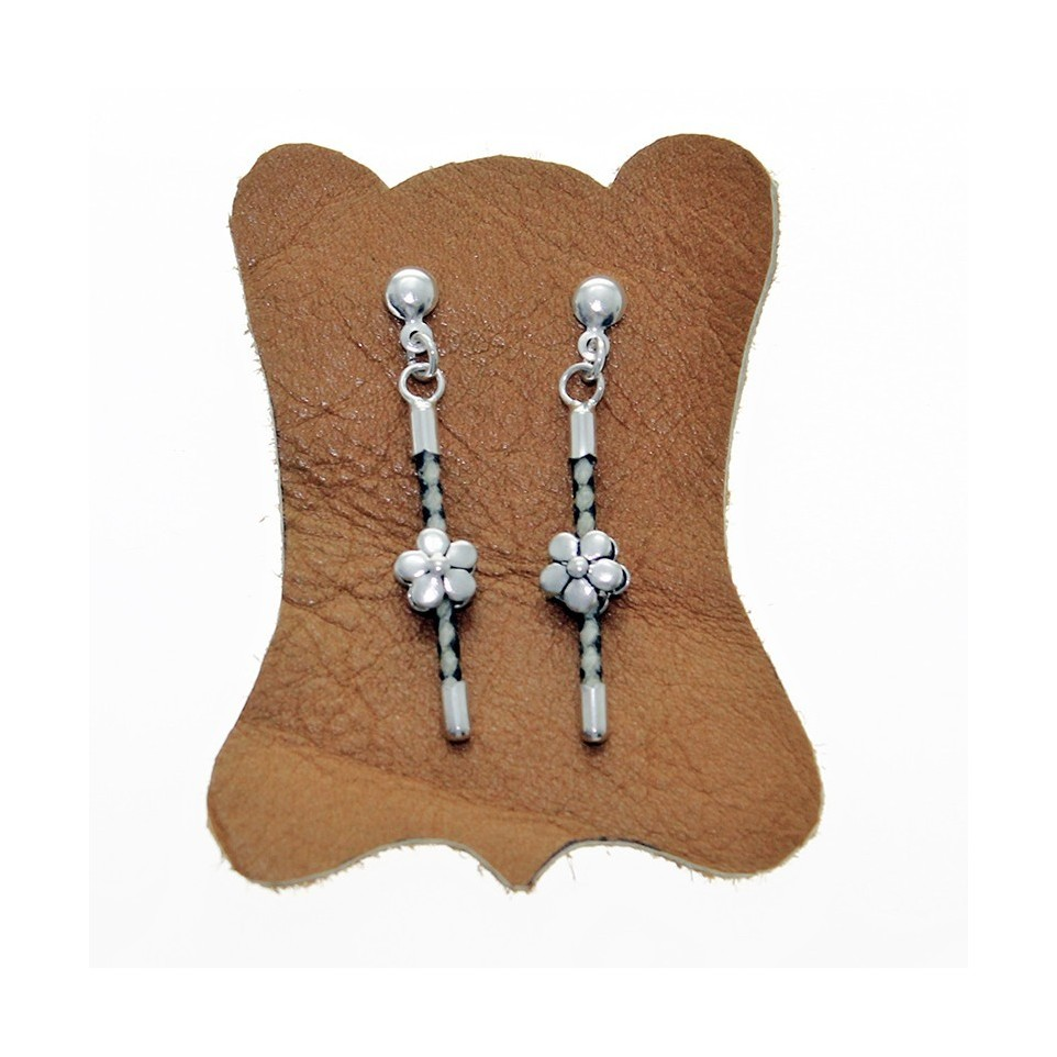 Sterling silver and raw leather stick earrings