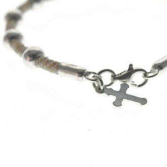 Sterling silver and raw leather praying beads bracelet