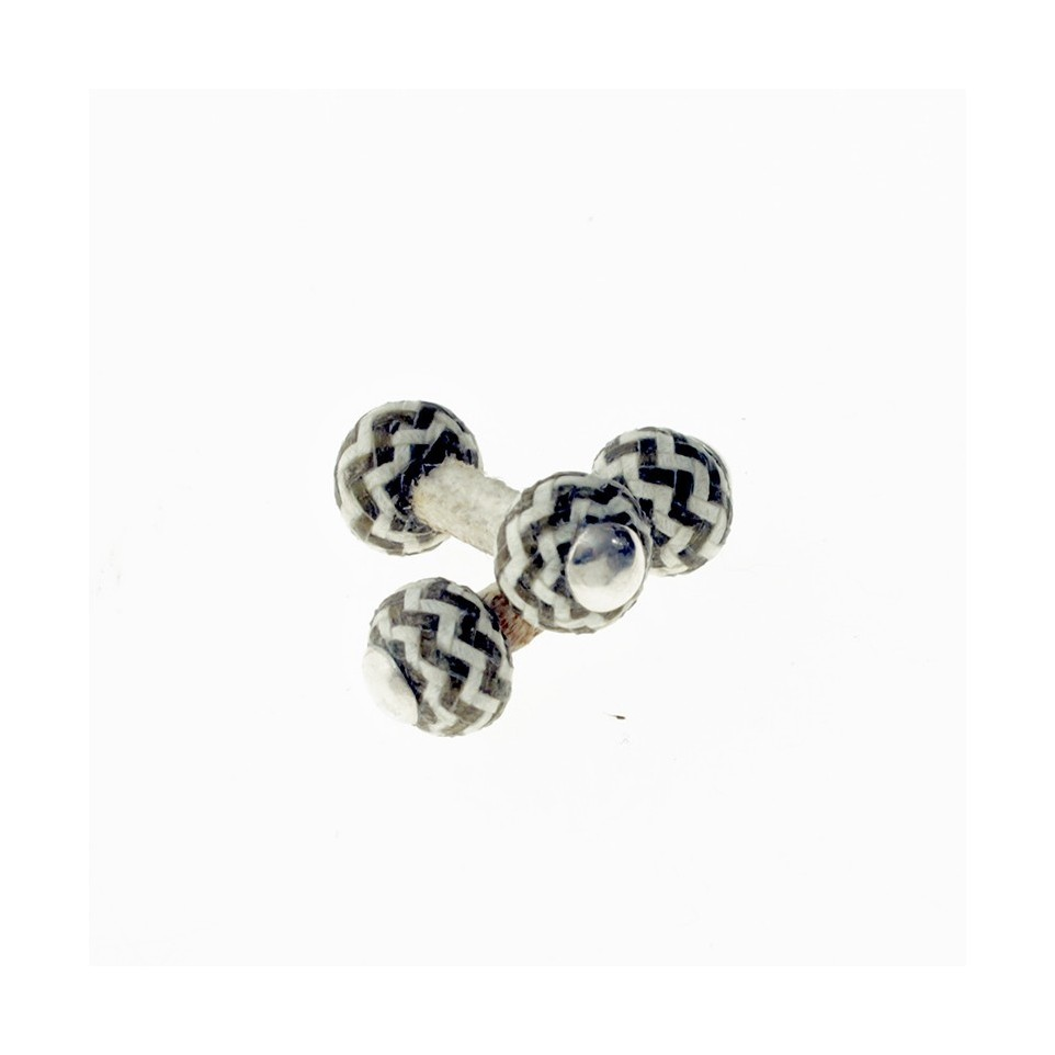 Two colors hand braided horse leather cufflinks