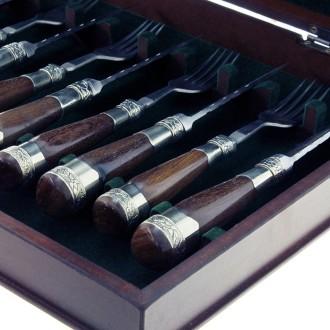 Juego x 6 cuchillos y tenedores cabos con incrustaciones |El Boyero