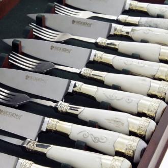 Juego x 6 cuchillos y tenedores cabos de ciervo |El Boyero