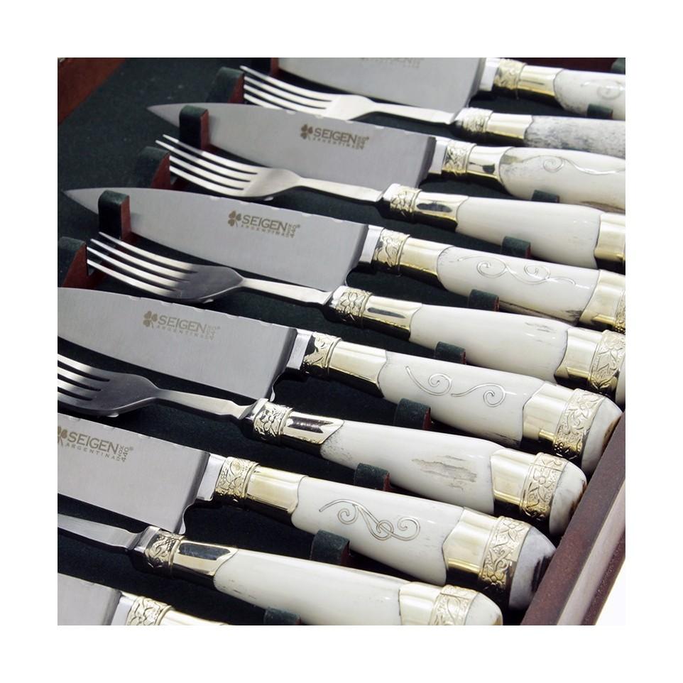 Juego x 6 cuchillos y tenedores cabos de ciervo