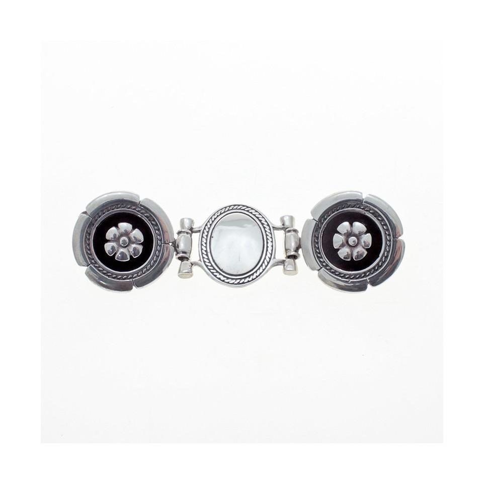 Pansy flower sterling silver double belt buckle |El Boyero