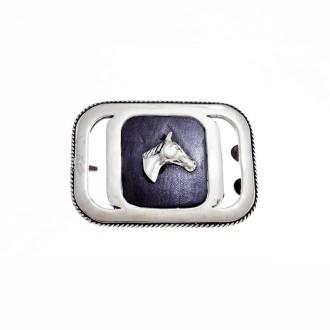 Horse head sterling silver square belt buckle |El Boyero