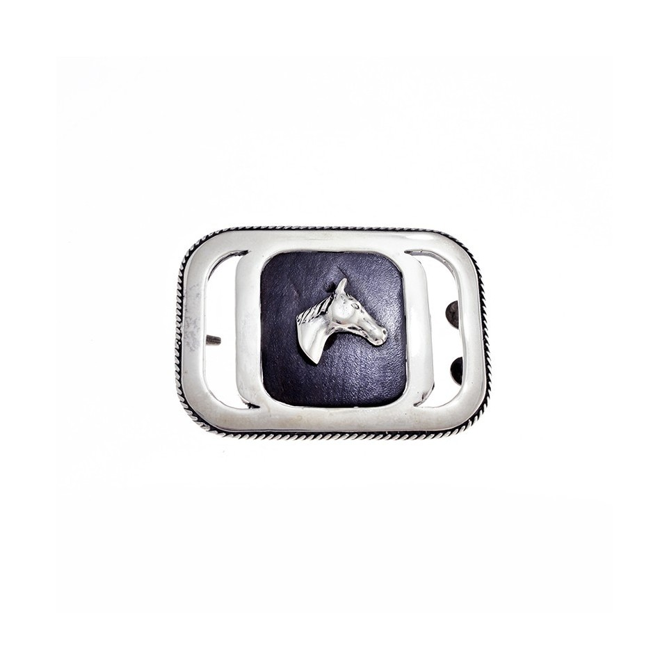 Horse head sterling silver square belt buckle |El Boyero