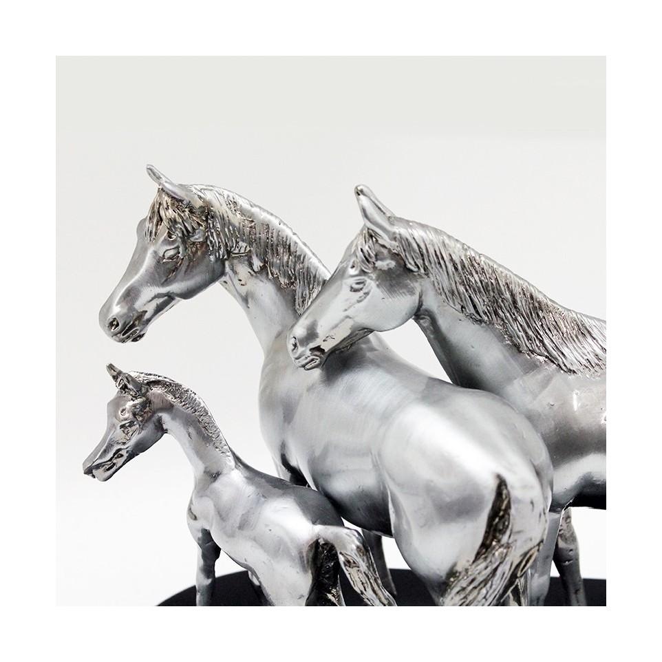 Horse family pewter plated statuette |El Boyero