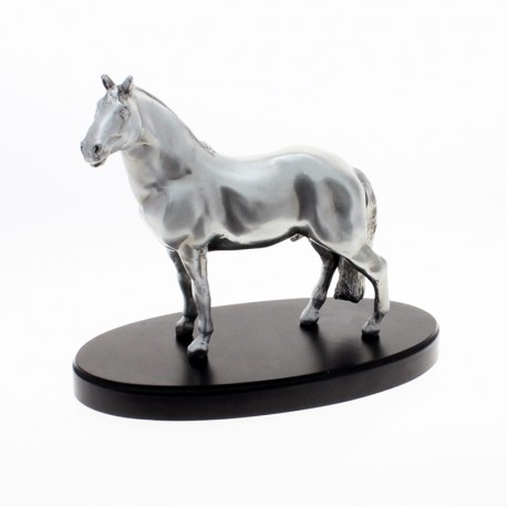 Creole horse pewter plated statuette