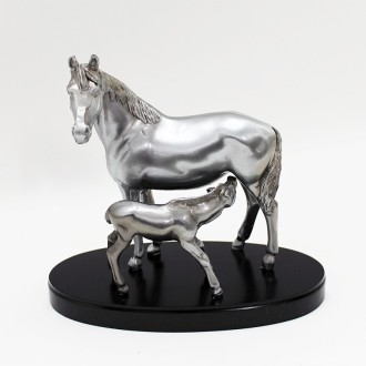 Mare with young foal pewter plated statuette |El Boyero