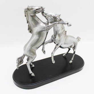 Two horses fight pewter plated statuette |El Boyero