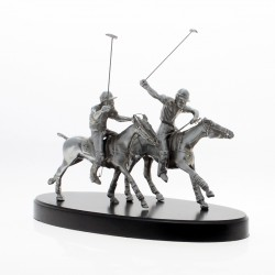Small polo horses with players pewter plated statuette |El Boyero