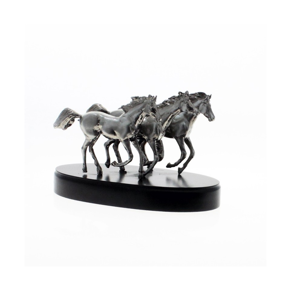 Three horses troop pewter plated statuette |El Boyero