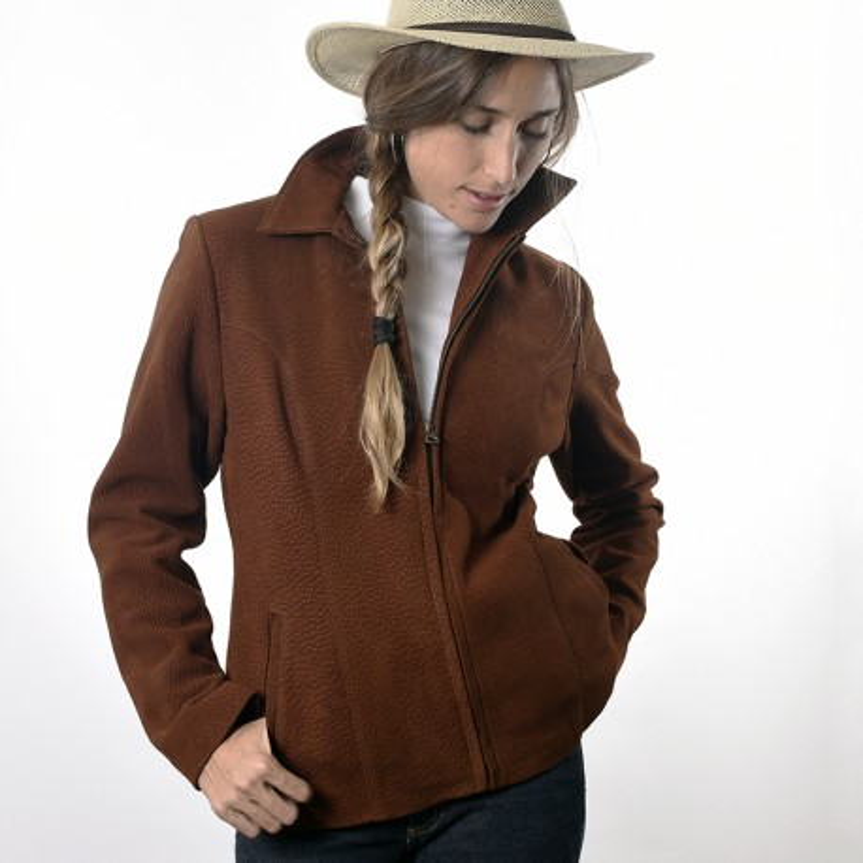 Capybara leather women jacket with zipper