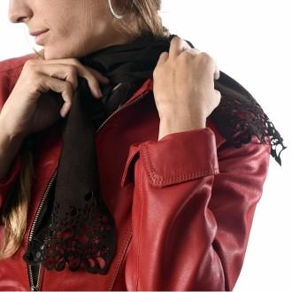 Suede tie with openwork motif
