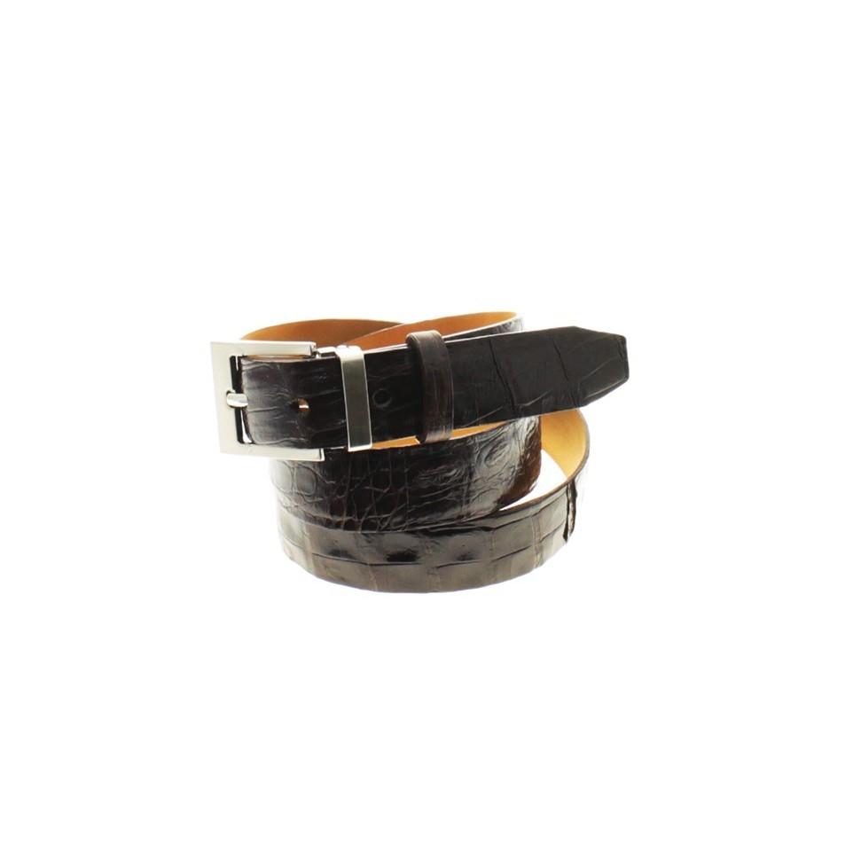 Black crocodile leather belt