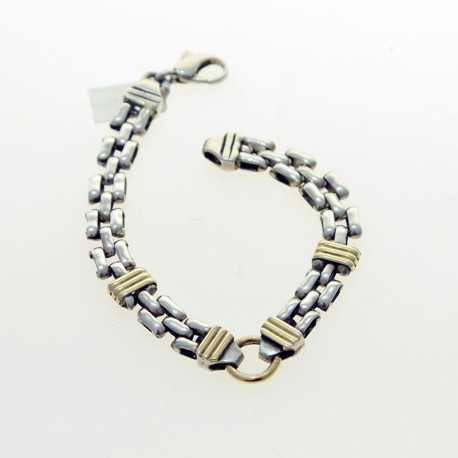 Sterling silver and gold bracelet