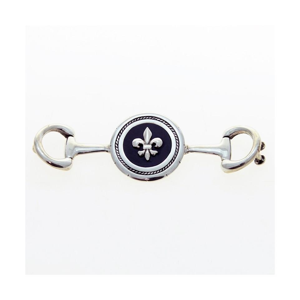 Fleur-de-lis sterling silver belt buckle