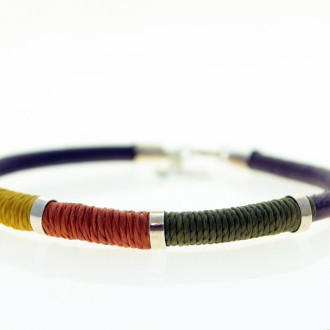Sterling silver, leather and waxed thread bracelet