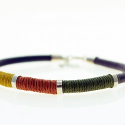 Sterling silver, leather and waxed thread bracelet |El Boyero