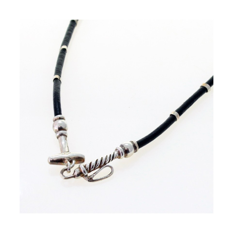 Sterling silver and leather polo mallet necklace |El Boyero