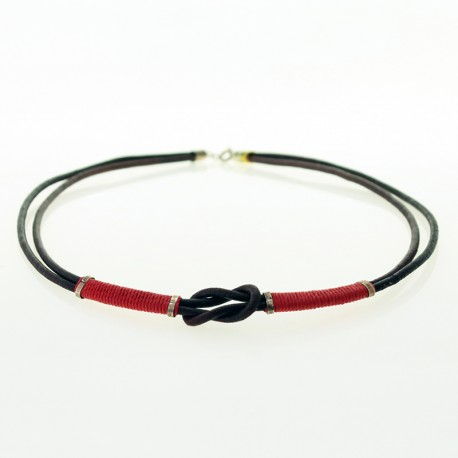 Leather and cotton thread knot necklace |El Boyero