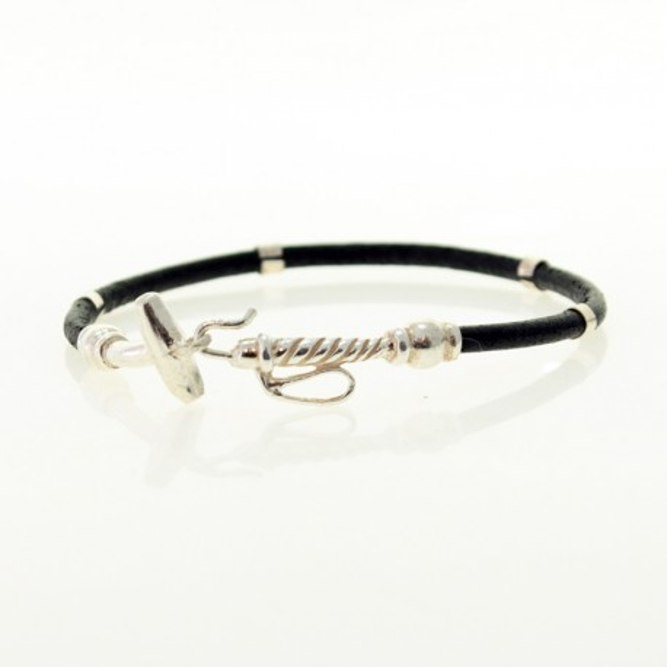 Sterling silver Polo mallet and leather bracelet |El Boyero
