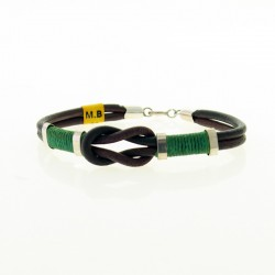 Leather and cotton thread knot bracelet