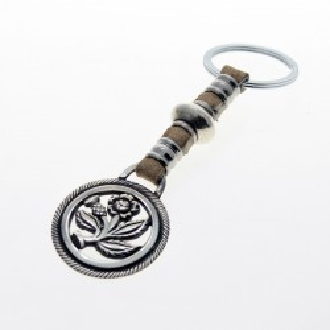 Thistle flower leather keychain |El Boyero