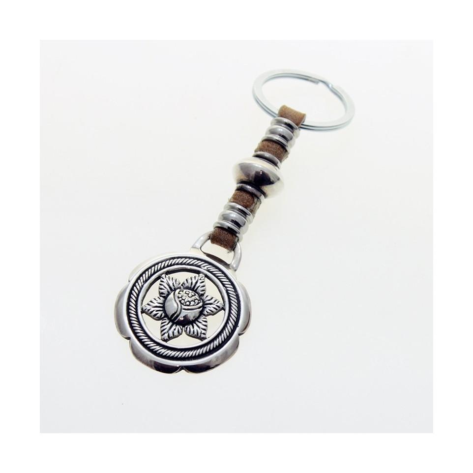 Poinsettia leather keychain